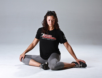 jessica Bento DVRT Sandbag shinbox position for hip rotation