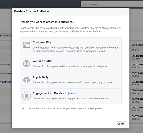 custom audience on facebook