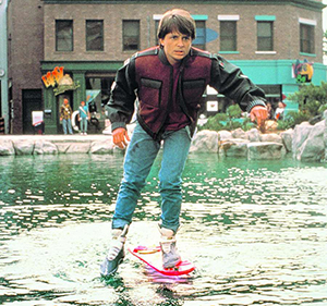 marty from back to the future on a hoverboard