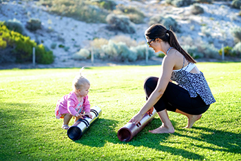 Kylianne Turton with daughter, Myka, outside with ViPR