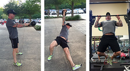 kettlebell swing, turkish getup and pull-up trains triathletes